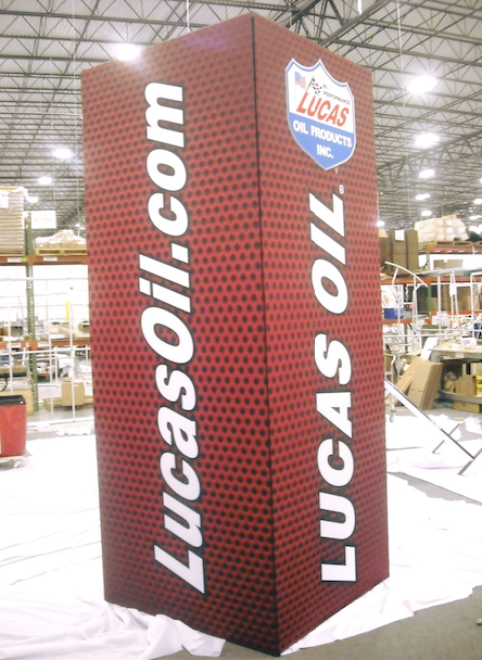 Lucas Oil Custom Expo Square Center Island Booth Tower